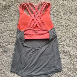Lululemon built in bra tank top shirt pink Sz4 XS
